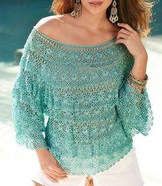 Romantic ruffles blouse crochet.         Романтичные блузы рюшами, связанные крючком.