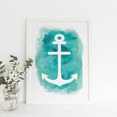 Anchor Print Watercolor Print Anchor Decor Nautical Wall