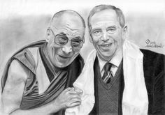 Drawing - Holiness Dalai -Lama and Vaclav Havel  pls visit my page https://www.facebook.com/byMichaelX