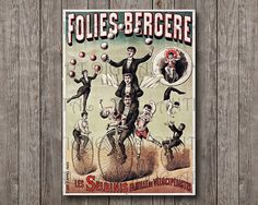 Circus Performers Monocycle Jugglery by AntiqueArtDigital on Etsy