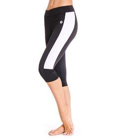 Look what I found on #zulily! Black & White Side-Stripe Capri Leggings #zulilyfinds