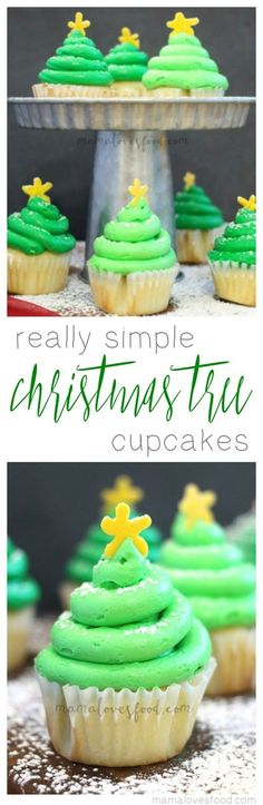 These Really Simple Christmas Tree Cupcakes recipe will be the best dessert at your holiday party.  Use our easy method to make Christmas tree cupcake toppers and dazzle your guests!