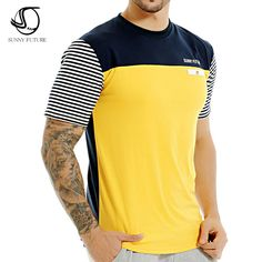 2016 Summer SUNNY FUTURE Brand Fashion Men T Shirt Cotton Short Sleeved Casual T-Shirt striped Men's clothing swag tops tees – Men's style, accessories, mens fashion trends 2020 Cheap T Shirts, Shirts & Tops, Casual T Shirts, Men Casual, Gents T Shirts, Mens Polo T Shirts, Mens Clothing Brands, Men's Clothing, T Shirt Websites