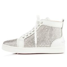 LOUIS WOMAN CUIR/STRASS,BLANC,Strass,Louboutin,Souliers Femme