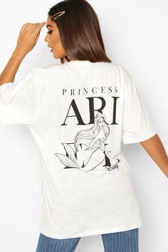 Womens Disney Princess Ariel Back Print T-shirt - blue - 10 Disney Shirts, Disney Outfits, Disney Princess Ariel, Latest T Shirt, Latest Tops, Princesas Disney, Printed Shirts, Boohoo, Shirt Designs