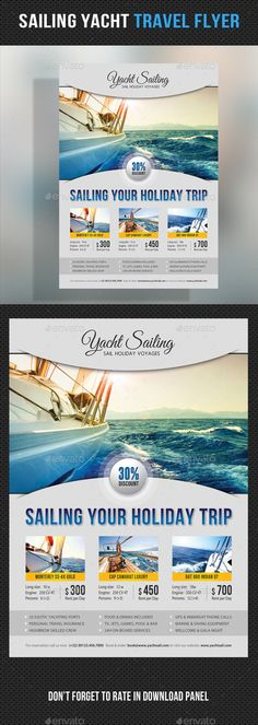 Sailing Yacht Travel Flyer 07 — Photoshop PSD #boat #sailing • Available here → https://graphicriver.net/item/sailing-yacht-travel-flyer-07/11861990?ref=pxcr