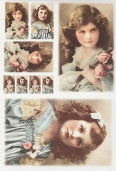 Rice Paper for Decoupage Decopatch Scrapbook Craft Old Pictures Girls in Blue