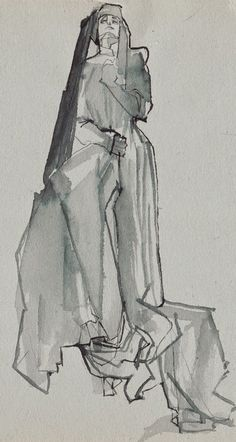 Ink sketch on grey paper by Maria Remedios Kleinschmidt (2014), Outfit: Franziska Link #fashion #fashionillustration #mariakleinschmidt