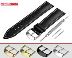 WHITE STITCH made of premium quality genuine calf leather is available with/without buckle. ThisEXTRA DARK BROWN smooth leather band in classic padded design with. Vintage Display, Bulova, Breitling, Seiko, Watches, Black Flats, Calf Leather, Watch Bands, Gold