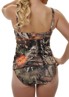 Tankini Top Mossy Oak® Break Up Country - 80% Nylon 20% Spandex - GWG Logo Paint Ball High Density Screen Print - Ruffled Front - Hook Closure with Keyhole Opening - Adjustable and Removable Straps -