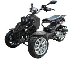 50cc Three-Wheel Ruckus Style Trike Scooter Moped Trike Scooter, Trike Motorcycle, Motorized Trike, Three Wheel Motorcycles, Electric Tricycle, Small Tractors, Third Wheel, 50cc, Scooters