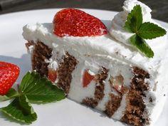 V kuchyni vždy otevřeno ...: Zatočený jahodovo kefírový dort Kefir, Tiramisu, Strawberry, Pudding, Treats, Sweet, Ethnic Recipes, Fruit Cakes, Sweet Like Candy