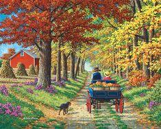 'Shady Lane' by John Sloane Beautiful Paintings, Beautiful Landscapes, Watercolor Landscape, Landscape Paintings, Autumn Scenes, Farm Art, Cottage Art, Puzzle Art, Country Art