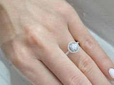 Brilliant Halo  Ring - Cubic Zirconia Promise Ring - Thin Halo Setting - Silver - CZ Solitaire Ring - Soooo pretty