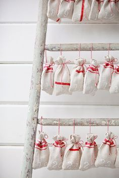 A nice idea for an advent calender, perhaps for a teenager - I'd have to start collect stuff all summer tho to be ready!