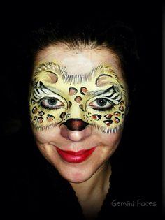 Leopard mask face paint