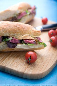 caramelised onion + steak sandwich