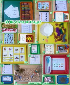 Matching, crafts, and a birdseed bin of course can be found among our 21 Bird Preschool Trays!