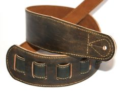 3 inch wide handmade faded black leather guitar strap with padding and adjustable by FlatlineLeather on Etsy