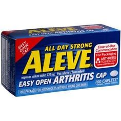 Aleve Arthritis Caplets by Bayer Healthcare are designed to relieve the minor aches and pains caused by arthritis joint pain. Made with 200 mg of naproxen, this pain reliever features an easy open bottle, caplet shaped tablets, and provides 12 hours of relief.