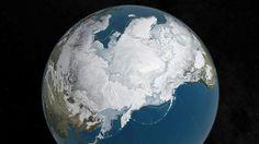 北極海を覆う海氷の面積が最小記録を更新したことを示す米航空宇宙局(NASA)のイメージ図(NASA提供・ロイター=共同)
