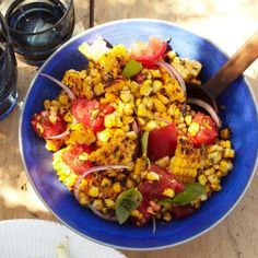Grilled Corn and Nectarine Salad with Toasted Spice Vinaigrette Recipe - Bon Appétit