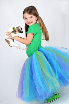 Youth Size 10 to 16  Long Tutu Skirt  PEACOCK  by PinkPosieCouture, $60.00