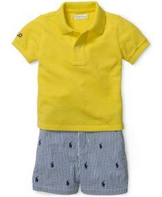 Ralph Lauren Baby Boys' Polo Shirt & Striped Shorts Set - Sets - Kids & Baby - Macy's
