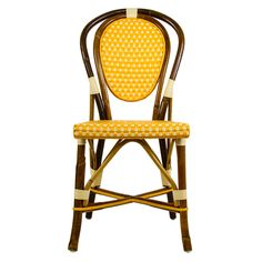 Ochre & Cream Mediterranean Bistro Chair | Our most popular chair! These armless rattan-framed dining chairs are part of the iconic French bistros of Le Midi, or the south of France. Hand-woven and artisan crafted, these French style bistro chairs in bright synthetic material, will add a pop of color to your outdoor or indoor space.