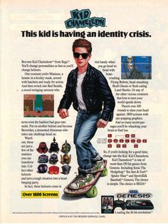Kid Chameleon ad - Sega Genesis - He's a tough kid with attitude because he has a leather jacket and sunglasses on..... even though it's dark and 80 degrees outside. Did I mention this game sucked?