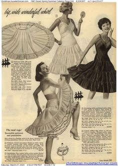 1961 Sears Spring Summer Catalog, Page 249 - Christmas Catalogs & Holiday Wishbooks Lingerie Catalog, Christmas Catalogs, Spring Summer, Holiday, Petticoats, Lingerie Sleepwear, Girls, Toddler Girls, Vacations