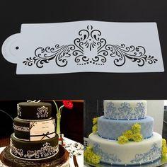 Lace Flower Border Cake Stencil Decorating Sugarcraft Baking Tool Fondant White