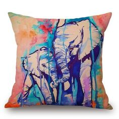 SHARE & Get it FREE   Ink Painting Colorful Elephant Design Square Pillow CaseFor Fashion Lovers only:80,000+ Items·FREE SHIPPING Join Dresslily: Get YOUR $50 NOW!