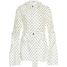 Loewe Dot Blouse (134 580 UAH) ❤ liked on Polyvore featuring tops, blouses, black, dot top, tie blouse, dot blouse, embellished top and polka dot top