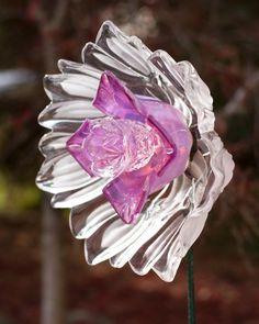 Repurposed Glass Garden Flower Garden Art Decor Made of