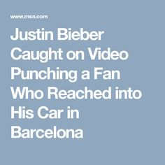Justin Bieber Caught on Video Punching a Fan Who Reached into His Car in Barcelona