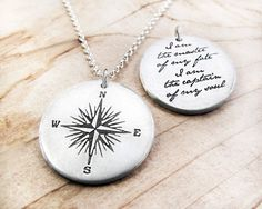 Compass Necklace Invictus quote - Inspirational necklace - graduation - I am the master of my fate - handmade jewelry