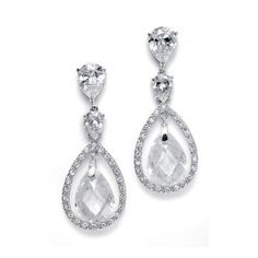 Bridal Earrings with Faceted Pear Shaped Drops