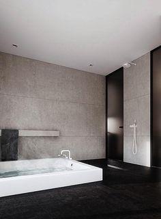 | Stone & black mix for a classy bathroom. |
