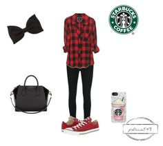 """Starbucks is my BAE"" by patricia549 ❤ liked on Polyvore featuring J Brand, Converse, Forever 21, Samsung and Givenchy"
