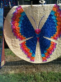 "Butterfly Quilt - made with Phillips special rulers & patterns for working ""In the Round!"" Book & Ruler on it's way!. STUNNING~"