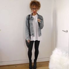 @beautycrush top from Topman, denim jacket from Topshop, leggings are from Urban and boots Vegabonds