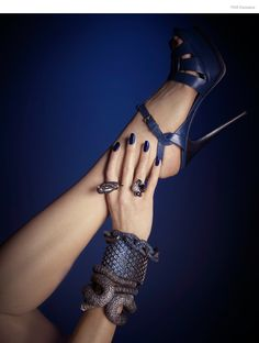 (From Bottom Up) KMO All Bracelets, Noir Bird Ring (On Pointer Finger), Stylist's own Ring (Ring Finger) , YSL Sandals, Nail Color Metallica Blue by Kleancolor