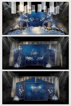 Royal blue wedding,wedding renderings,royal blue welcome,blue gold wedding Wedding Backdrop Design, Wedding Stage Design, Wedding Reception Backdrop, Wedding Stage Decorations, Wedding Designs, Wedding Details, Wedding Ideas, Blue Gold Wedding, Wedding Background