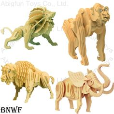 free craft patterns | 3D Wooden Puzzle Animal Construction Kit Wood Craft Model…