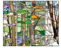 Four seasons (four panels) with beams birds four seasons spring fall autumn summer winter stained glass patterns landscape []$6.00 | PDQ Patterns
