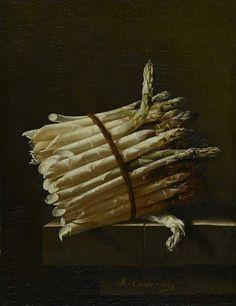 Adriaen Coorte, A bundle of asparagus, 1703  30 x 23 cm, oil on canvas, Fitzwilliam Museum