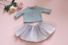 Set for baby girl's sweatshirt fleece skirt by MonikaMagdalenapl