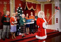 Madame Tussauds Londons Royal family don Christmas jumpers to support Save the Children, London, UK - 06 Dec 2016  Father Christmas and royal wax figures  6 Dec 2016