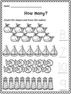 Counting to 20 Matching Game and Practice Pages - great for a math center, and 8 practice pages included to assess students.